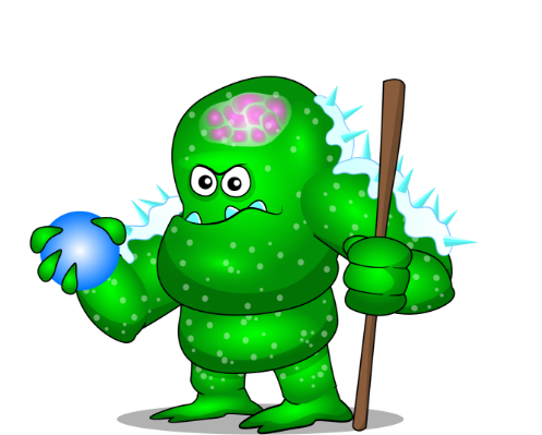 Green Monster, facing leftward while holding a staff.
